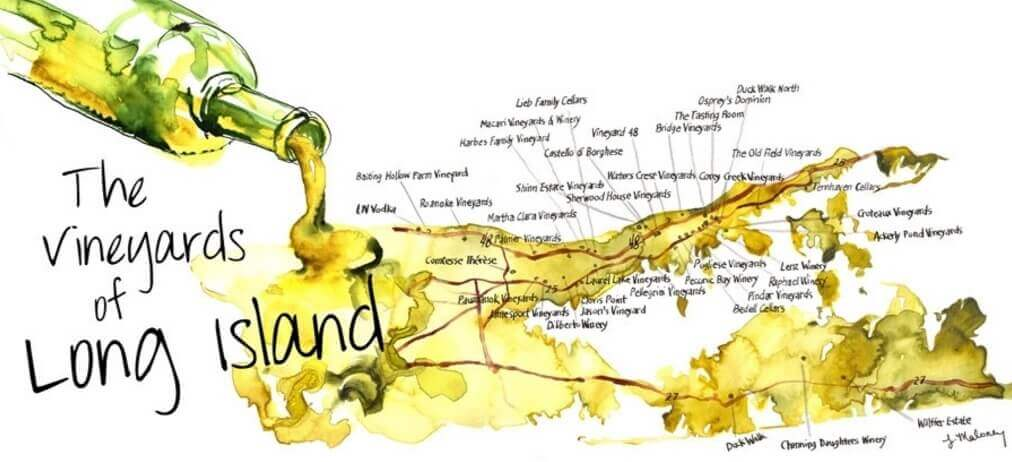 The Long Island Vineyards & Wineries Map