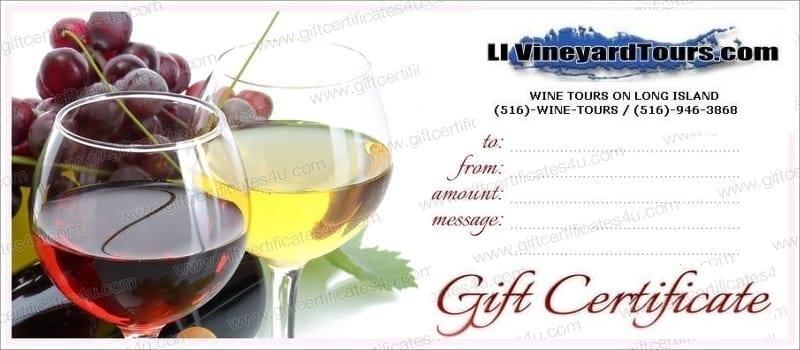 LI Vineyard Tours Gift Certificates